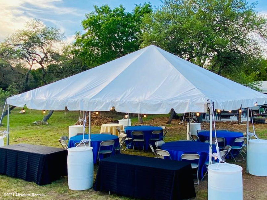 20 x 20 Tent with stabilizers tables and seating.