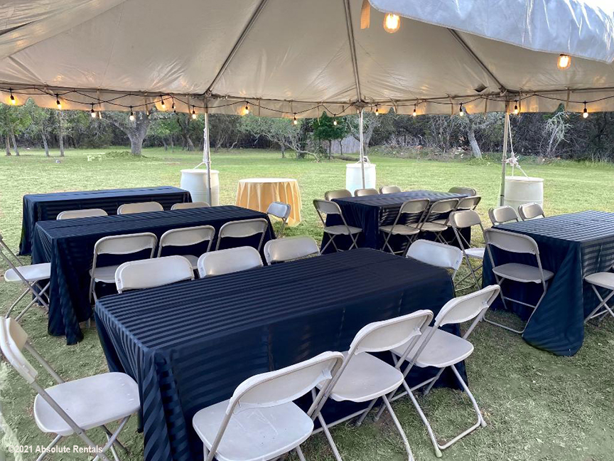 20 x 20 Tent, 8 Seat Tables and Chairs and Linens.