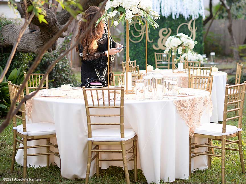 The Gold Chiavari Chair rental makes every reception one to remember.