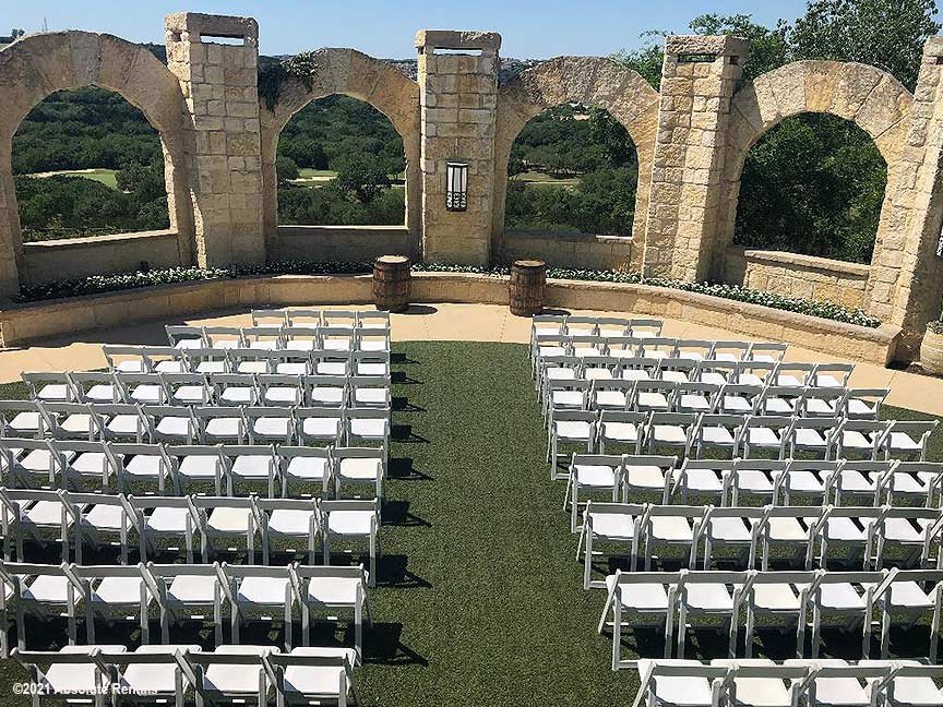 White Resin Wedding Chair Rental for an event at La Cantera!